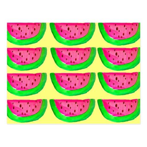 Juicy pink  watermelon fruit pattern on lemon post cards