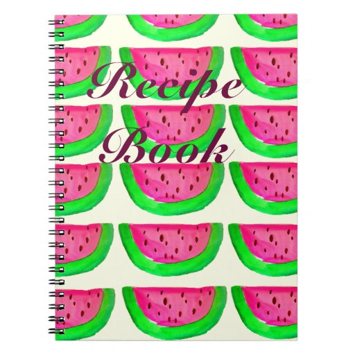 Juicy pink  watermelon fruit recipe book spiral note book
