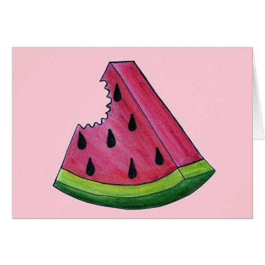 Juicy Pink Watermelon Wedge Slice Green Rind Fruit Card