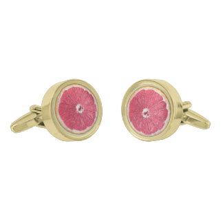Juicy Red Grapefruit Gold Finish Cuff Links