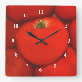 Juicy Red Homegrown Garden Tomatoes Wall Clocks