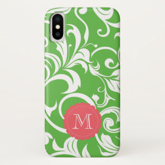Juicy Watermelon Floral Wallpaper CustomMonogram iPhone X Case