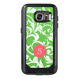 Juicy Watermelon Floral Wallpaper Swirl Monogram OtterBox Samsung Galaxy S7 Case