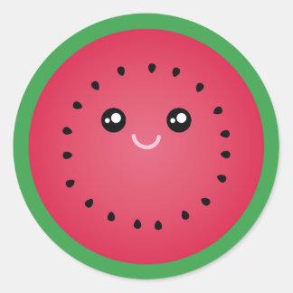 Juicy Watermelon Slice Cute Kawaii Funny Foodie Classic Round Sticker