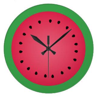 Juicy Watermelon Slice Funny Foodie Kitchen Large Clock