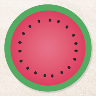Juicy Watermelon Slice Funny Foodie Round Paper Coaster