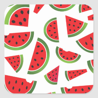 Juicy Watermelon Slices Fruit Pattern Square Sticker