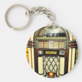 Juke-box Image key-chain Basic Round Button Key Ring