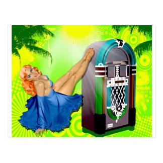 Jukebox Pin Up Girl Postcard
