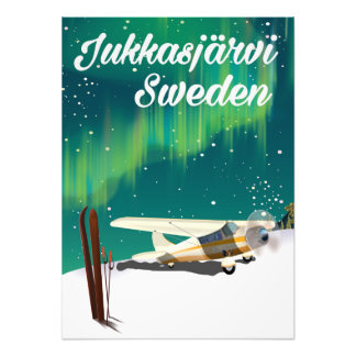 Jukkasjärvi Sweden Northern lights vacation poster