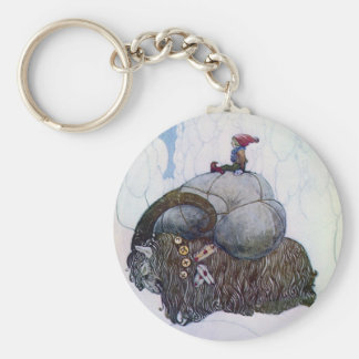 Julbocken Riding Yule Goat Basic Round Button Key Ring