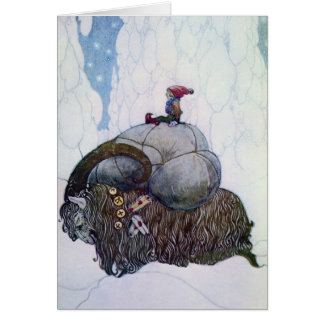 Julbocken Riding Yule Goat Card
