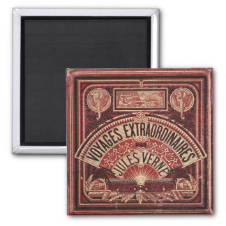 """JULES VERNE """"EXTRAORDINARY VOYAGES"""" (1878) SQUARE MAGNET"""