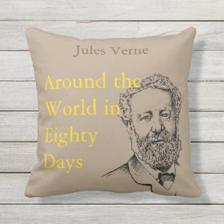 Jules Verne, the steampunk writer Cushion