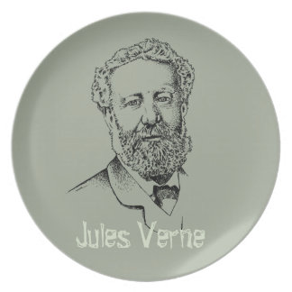Jules Verne the steampunk writer Plate