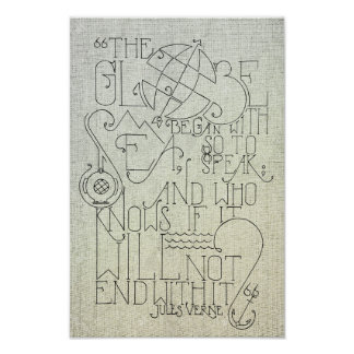 Jules Verne Typography Poster