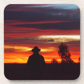 Julia Creek outback sunset drink coaster set