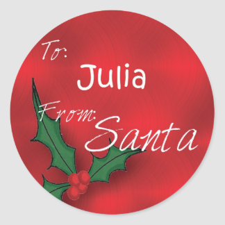 Julia Personalized Holly Gift Tags From Santa Round Sticker
