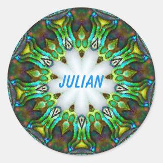 JULIAN ~ Personalised Paua Shell Fractal ~ Classic Round Sticker