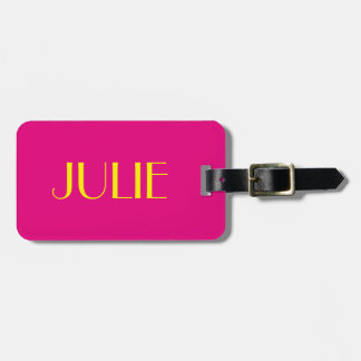 Julie Hot Pink and Yellow Luggage Tag