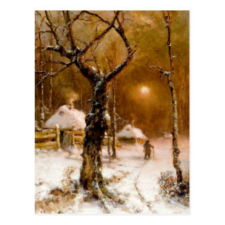 Julius Klever: Winter Night Walk Postcard