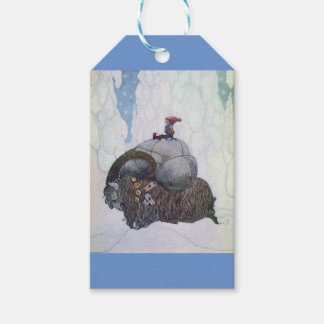 Jullbocken The Yule Goat Being Ridden By A Child Gift Tags