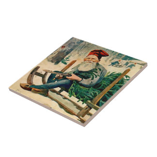 Jultomten 1898 - Swedish Tomten Trivet Small Square Tile