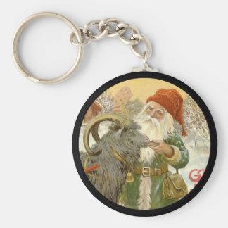 Jultomten Feeds Yule Goat a Cookie Key Ring