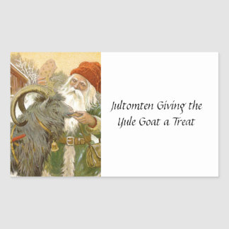 Jultomten Feeds Yule Goat a Cookie Rectangular Sticker