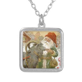 Jultomten Feeds Yule Goat a Cookie Silver Plated Necklace