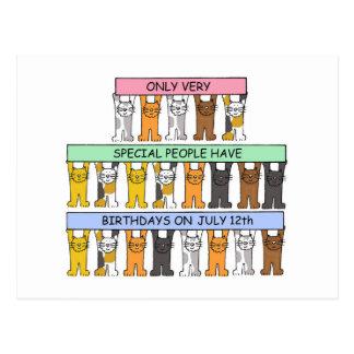 July 12th Birthday Cats Postcard