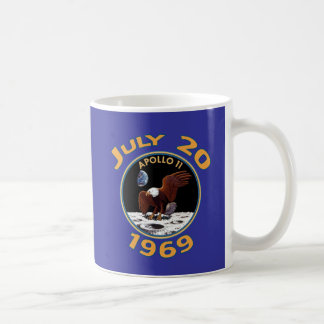 July 20, 1969 Apollo 11 Mission to the Moon Basic White Mug