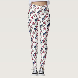 July 4 American Flag Typography Stars and Stripes Leggings