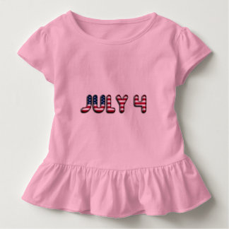 July 4 American Flag Typography Stars and Stripes Toddler T-Shirt