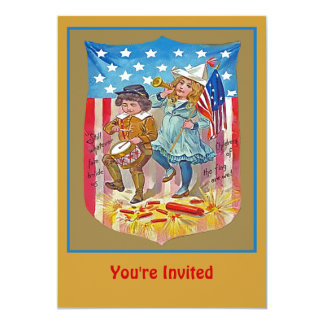 july 4 party 13 cm x 18 cm invitation card