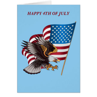 July 4th American Flag and Eagle Note Card