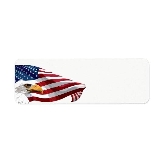July 4th American Flag and Eagle Return Address Label