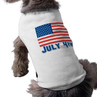 July 4th American Flag Doggie T-shirt