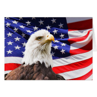 July 4th Bald Eagle with American Flag Note Card