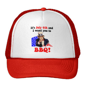 July 4th barbecue mesh hats