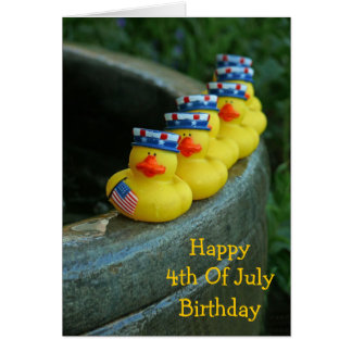 July 4th Birthday Ducks Card