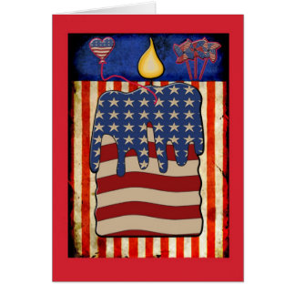 July 4th candle flag notecard card