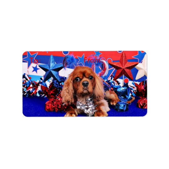 July 4th - Cavalier King Charles Spaniel - Cooper Address Label