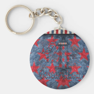 July  4th Celebration Basic Round Button Key Ring