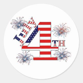 July 4th classic round sticker