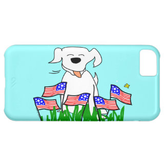 July 4th Dog with Flags Case For iPhone 5C