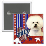 July 4th Firecracker - Bichon Frise 15 Cm Square Badge