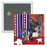 July 4th Firecracker - Chihuahua 15 Cm Square Badge