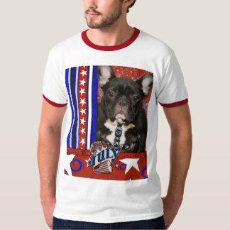July 4th Firecracker - French Bulldog - Teal T-Shirt