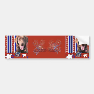 July 4th Firecracker - Labrador - Chocolate Bumper Sticker